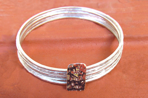 <b>ZH015-9K</b> - sterling silver and 9K rose gold bracelet