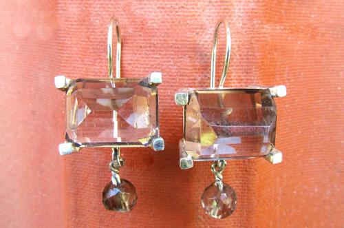 <b>A021-Big</b> - Smokey quartz earing, sterling silver and 9K rose gold
