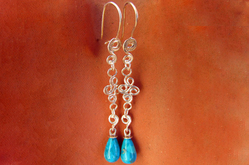 <b>A090-S</b> - sterling silver earrings with Turquoise