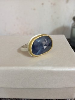 <b>T-175</b> - sterling silver 24K gold and Sapphire ring